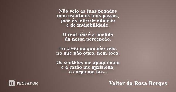 Não vejo as tuas pegadas nem escuto os teus passos, pois és feito de silêncio e de invisibilidade. O real não é a medida da nossa percepção. Eu creio no que não... Frase de Valter da Rosa Borges.