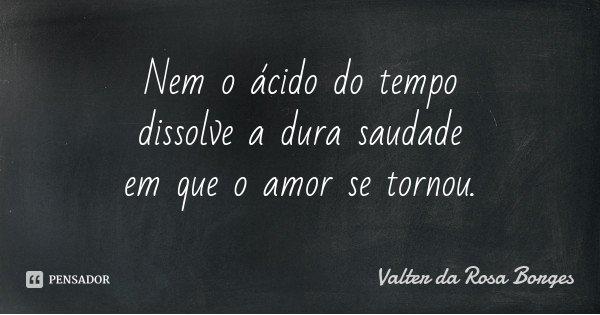 Nem o ácido do tempo dissolve a dura saudade em que o amor se tornou.... Frase de Valter da Rosa Borges.