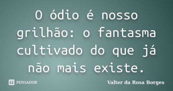 O ódio é nosso grilhão: o fantasma cultivado do que já não mais existe.... Frase de Valter da Rosa Borges.