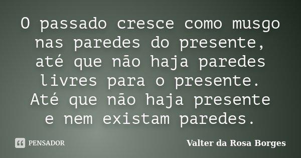 O passado cresce como musgo nas paredes do presente, até que não haja paredes livres para o presente. Até que não haja presente e nem existam paredes.... Frase de Valter da Rosa Borges.