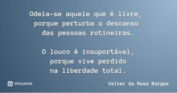 Odeia-se aquele que é livre, porque perturba o descanso das pessoas rotineiras. O louco é insuportável, porque vive perdido na liberdade total.... Frase de Valter da Rosa Borges.