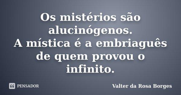 Os mistérios são alucinógenos. A mística é a embriaguês de quem provou o infinito.... Frase de Valter da Rosa Borges.