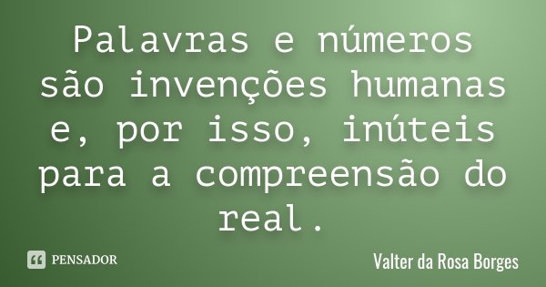 Palavras e números são invenções humanas e, por isso, inúteis para a compreensão do real.... Frase de Valter da Rosa Borges.