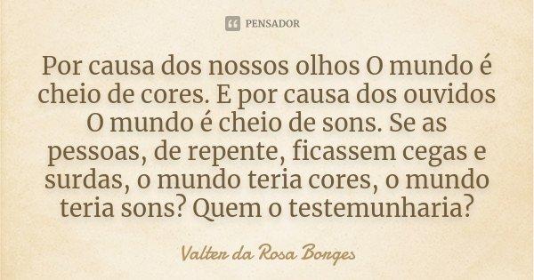 Por causa dos nossos olhos O mundo é cheio de cores. E por causa dos ouvidos O mundo é cheio de sons. Se as pessoas, de repente, ficassem cegas e surdas, o mund... Frase de Valter da Rosa Borges.