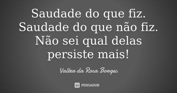 Saudade do que fiz. Saudade do que não fiz. Não sei qual delas persiste mais!... Frase de Valter da Rosa Borges.