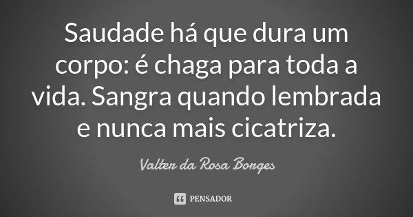 Saudade há que dura um corpo: é chaga para toda a vida. Sangra quando lembrada e nunca mais cicatriza.... Frase de Valter da Rosa Borges.
