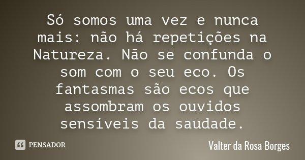 Só somos uma vez e nunca mais: não há repetições na Natureza. Não se confunda o som com o seu eco. Os fantasmas são ecos que assombram os ouvidos sensíveis da s... Frase de Valter da Rosa Borges.