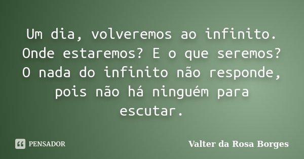 Um dia, volveremos ao infinito. Onde estaremos? E o que seremos? O nada do infinito não responde, pois não há ninguém para escutar.... Frase de Valter da Rosa Borges.
