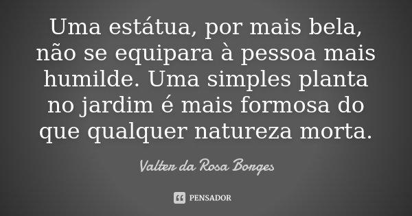 Uma estátua, por mais bela, não se equipara à pessoa mais humilde. Uma simples planta no jardim é mais formosa do que qualquer natureza morta.... Frase de Valter da Rosa Borges.