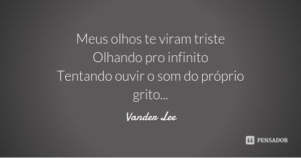 Meus olhos te viram triste Olhando pro infinito Tentando ouvir o som do próprio grito...... Frase de Vander Lee.