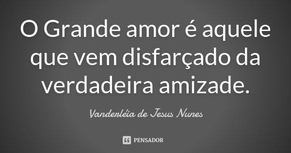 O Grande amor é aquele que vem disfarçado da verdadeira amizade.... Frase de Vanderléia de Jesus Nunes.