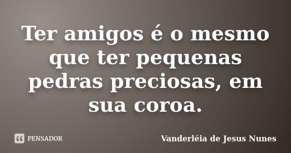Ter amigos é o mesmo que ter pequenas pedras preciosas, em sua coroa.... Frase de Vanderléia de Jesus Nunes.