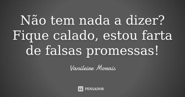 Não tem nada a dizer? Fique calado, estou farta de falsas promessas!... Frase de Vanileire Morais.