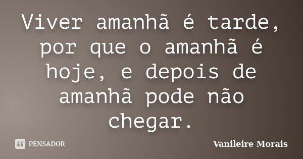 Viver amanhã é tarde, por que o amanhã é hoje, e depois de amanhã pode não chegar.... Frase de Vanileire Morais.