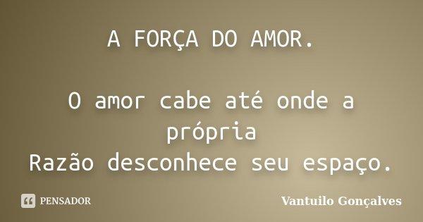 A FORÇA DO AMOR. O amor cabe até onde a própria Razão desconhece seu espaço.... Frase de vantuilo Gonçalves.