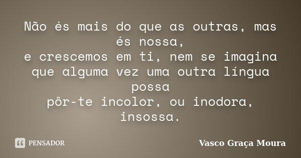 Não és mais do que as outras, mas és nossa, e crescemos em ti, nem se imagina que alguma vez uma outra língua possa pôr-te incolor, ou inodora, insossa.... Frase de Vasco Graça Moura.