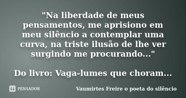"""""""Na liberdade de meus pensamentos, me aprisiono em meu silêncio a contemplar uma curva, na triste ilusão de lhe ver surgindo me procurando..."""" Do livr... Frase de Vaumirtes Freire o poeta do silêncio."""