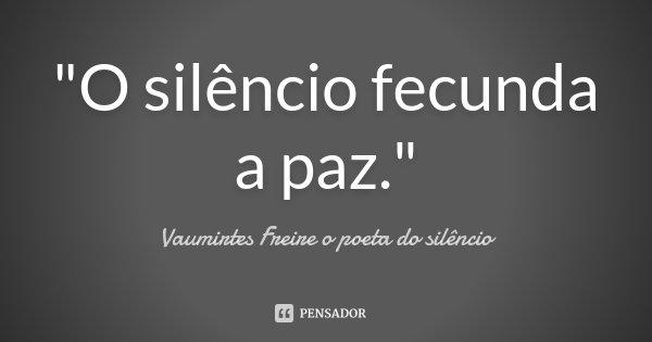 """""""O silêncio fecunda a paz.""""... Frase de Vaumirtes Freire o poeta do silêncio."""