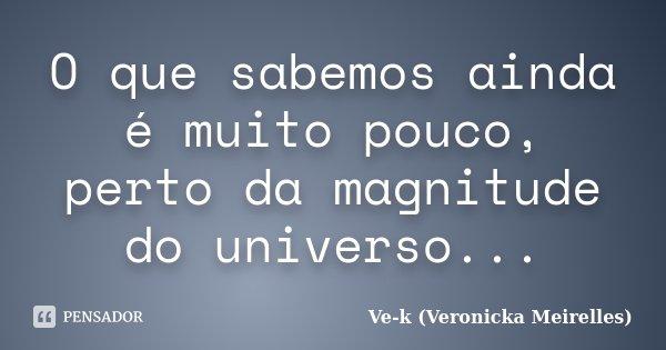 O que sabemos ainda é muito pouco, perto da magnitude do universo...... Frase de Ve-k (Veronicka Meirelles).
