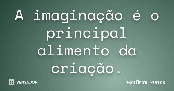 A imaginação é o principal alimento da criação.... Frase de Venilton Matos.