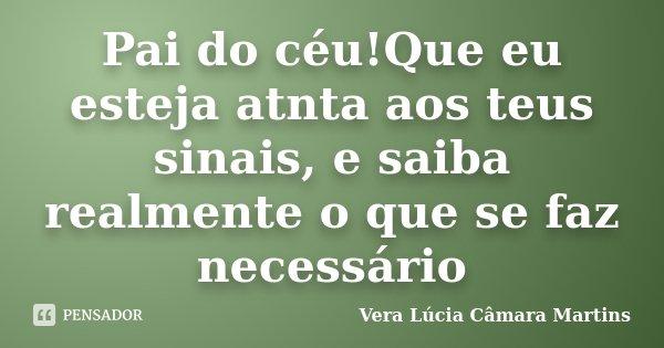 Pai do céu!Que eu esteja atnta aos teus sinais, e saiba realmente o que se faz necessário... Frase de Vera Lúcia Câmara Martins.