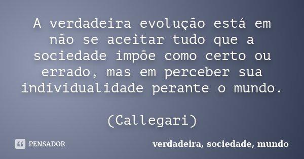 A verdadeira evolução está em não se aceitar tudo que a sociedade impõe como certo ou errado, mas em perceber sua individualidade perante o mundo. (Callegari)... Frase de verdadeira, sociedade, mundo.