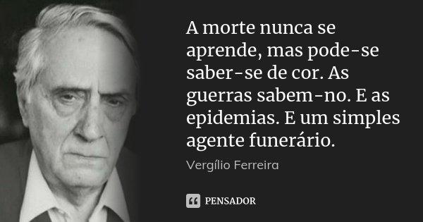 A morte nunca se aprende, mas pode-se saber-se de cor. As guerras sabem-no. E as epidemias. E um simples agente funerário.... Frase de Vergílio Ferreira.