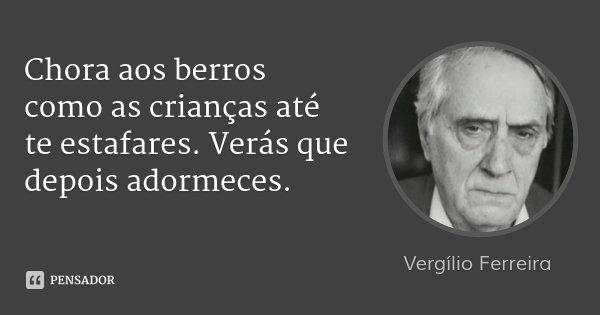 Chora aos berros como as crianças até te estafares. Verás que depois adormeces.... Frase de Vergílio Ferreira.