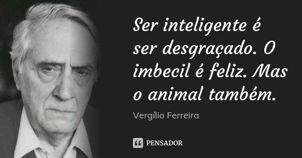 Ser inteligente é ser desgraçado. O imbecil é feliz. Mas o animal também.... Frase de Vergílio Ferreira.