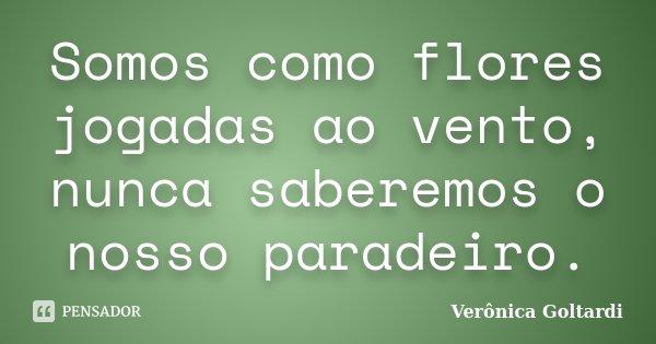 Somos como flores jogadas ao vento, nunca saberemos o nosso paradeiro.... Frase de Verônica Goltardi.