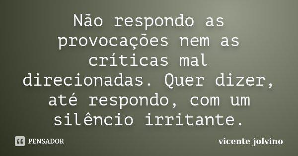 Não respondo as provocações nem as críticas mal direcionadas. Quer dizer, até respondo, com um silêncio irritante.... Frase de Vicente Jolvino.
