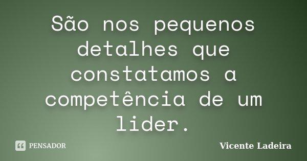 São nos pequenos detalhes que constatamos a competência de um lider.... Frase de Vicente Ladeira.
