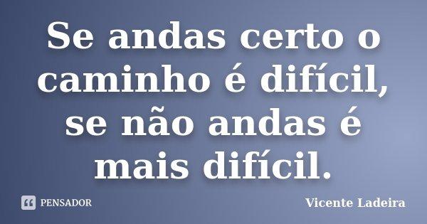Se andas certo o caminho é difícil, se não andas é mais difícil.... Frase de Vicente Ladeira.