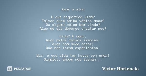 Amor à Vida O Que Significa Vida Victor Hortencio