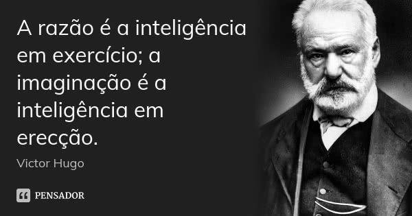 A razão é a inteligência em exercício; a imaginação é a inteligência em erecção.... Frase de Victor Hugo.