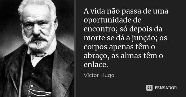 A vida não passa de uma oportunidade de encontro; só depois da morte se dá a junção; os corpos apenas têm o abraço, as almas têm o enlace.... Frase de Victor Hugo.