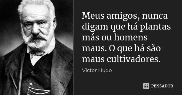 Meus amigos, nunca digam que há plantas más ou homens maus. O que há são maus cultivadores.... Frase de Victor Hugo.