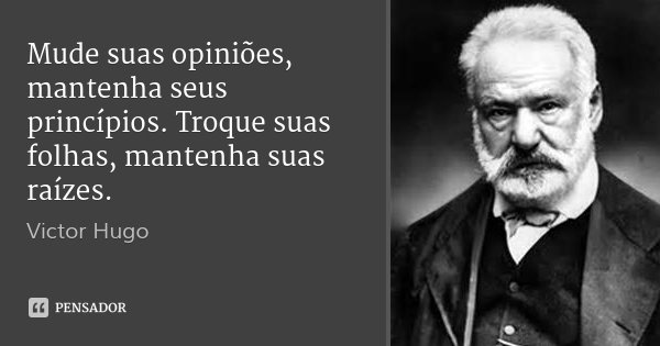 Mude suas opiniões, mantenha seus princípios. Troque suas folhas, mantenha suas raízes.... Frase de Victor Hugo.