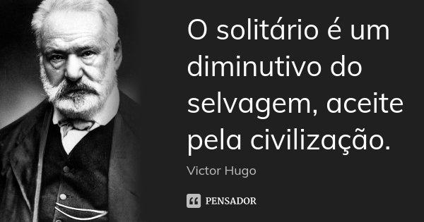 O solitário é um diminutivo do selvagem, aceite pela civilização.... Frase de Victor Hugo.