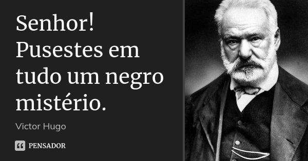 Senhor! Pusestes em tudo um negro mistério.... Frase de Victor Hugo.
