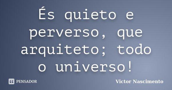 És quieto e perverso, que arquiteto; todo o universo!... Frase de Victor Nascimento.