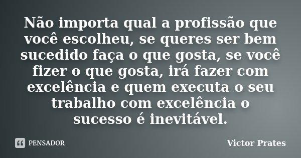 Não importa qual a profissão que você escolheu, se queres ser bem sucedido faça o que gosta, se você fizer o que gosta, irá fazer com excelência e quem executa ... Frase de Victor Prates.