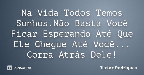 Na Vida Todos Temos Sonhos,Não Basta Você Ficar Esperando Até Que Ele Chegue Até Você... Corra Atrás Dele!... Frase de Victor Rodrigues.