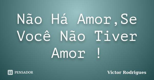 Não Há Amor,Se Você Não Tiver Amor !... Frase de Victor Rodrigues.