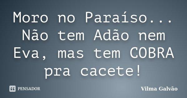 Moro no Paraíso.. Não tem Adão nem Eva...mas tem COBRA pra kacete!... Frase de Vilma Galvão.