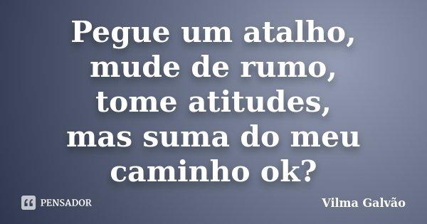 Pegue um atalho, mude de rumo, tome atitudes, mas suma do meu caminho ok?... Frase de Vilma Galvão.