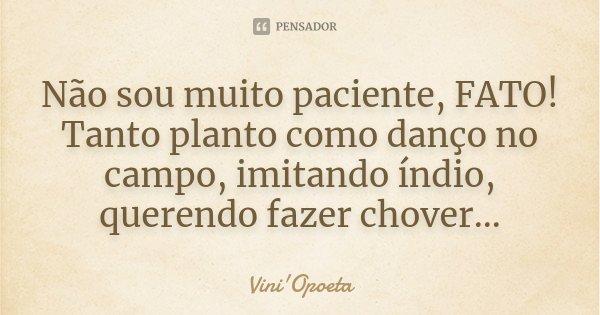 Não sou muito paciente, FATO! Tanto planto como danço no campo, imitando índio, querendo fazer chover...... Frase de Vini Opoeta.