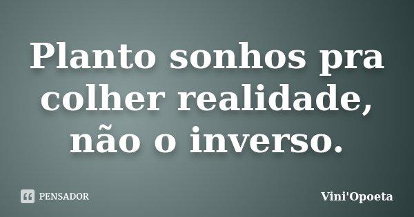 Planto sonhos pra colher realidade, não o inverso.... Frase de Vini Opoeta.