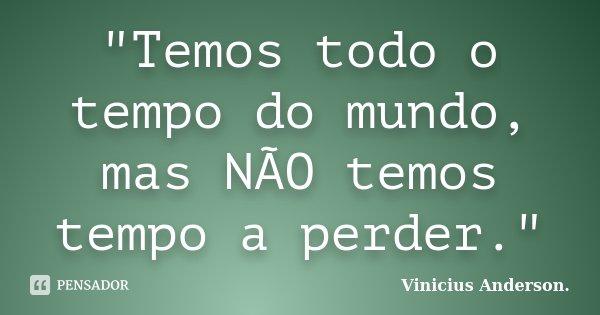 """""""Temos todo o tempo do mundo, mas NÃO temos tempo a perder.""""... Frase de Vinicius Anderson.."""