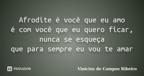 Afrodite é você que eu amo é com você que eu quero ficar, nunca se esqueça que para sempre eu vou te amar... Frase de Vinicius de Campos Ribeiro.